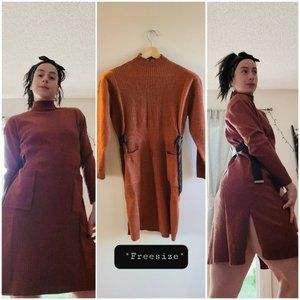 NWT- Brown Free size wool sweater dress with belt